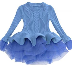 Bibihou Mädchen-Winter-Kleid 2017 Art und Weise Frühlings-Herbst-Prinzessin Girl langärmlige Strickjacke Röckchen Kleid Kid Weihnachten Kleider für