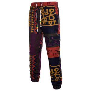 Marca de lujo para hombre de la impresión floral de Bohemia Joggers masculinos Pantalones Lápiz Casual Ropa de Deporte Hombres pantalón con cordón pantalones flojos
