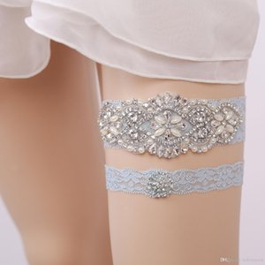 Bonito 2 Pieces definir Cristais nupcial Leg Lace ligas Prom Garter casamento nupcial Garter Belt Lace strass azul Pérolas Light In da Modest