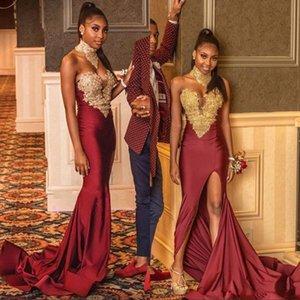 Bordo Sevgiliye Mermaid Balo Dresse 2020 Altın Dantel Aplikler Seksi Yan Bölünmüş Afrika Abiye giyim Örgün Giyim Vestidos De Fiesta
