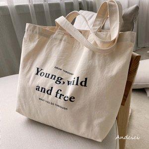 Vintage Letters Print Canvas Bag Women Casual Beige Portable Large Capacity Shopping Bag Sholder Fashion Harajuku Schoolbag