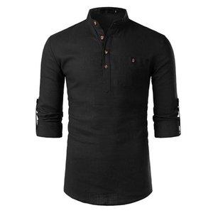 Neck Solid Mens Tops con tasche Moda Maschile Cotone-lino a maniche lunghe camicie da uomo Lapel