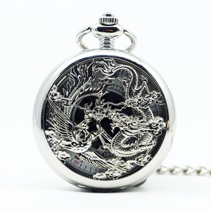 Classic Bronze Dragon and Phoenix Hollow Mechanical Pocket Watch Steampunk Women Watch With Pendent Necklace Best Gift PJX1266