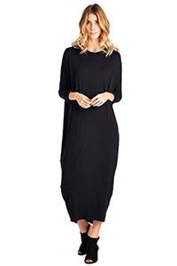 12 Maxi robe à manches longues cache-coeur Ami (S-2X) - Fabriqué aux États-Unis