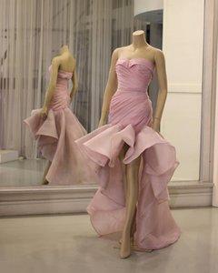 Aso Ebi 2020 Arabisch Stilvolle rosa Cocktailkleider Schatz-Nixe-Organza-Abschlussball-Kleider formale Partei Bridesmaid Festzug-Kleider