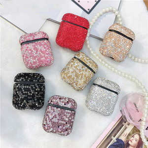 Brilhando AirPods caso protetor do Flash Diamante Bluetooth Headset Capa para Airpods 1/2 Armazenamento Moda Generation Box 7colors Atacado