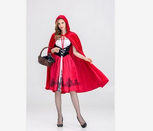 2020 Womens Halloween Suit Designer Womens Suits Luxury Little Red Riding Hood Costume for Women Cloaks + Dresses Cosplay