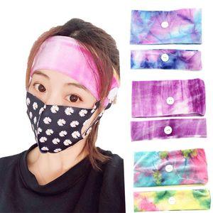 Gradient Mask Earloop Hairband Mask Ear Buckle Elastic Headband Ear Lanyard Holder Sports Headbands With Button party favor FFA3997