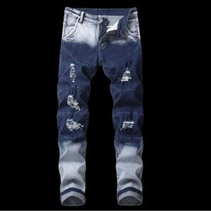 2020 New Ripped Jeans Men Patchwork Hollow Out Beggar Jeans Cowboys Demin Pants Male Gradient Color