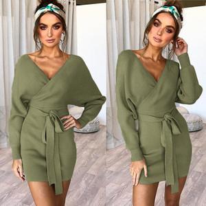 Elsvios casuale a maniche lunghe aderente Pullover Vestitino Autunno Inverno V-Neck Sweater Dress fasciatura delle donne Vestito Vestidos