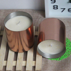 New Arrival Double Walled Stainless Steel Copper Plated Internal and External Brushed High-end Atmospheric Candlestick candle cup