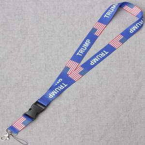 Trump Cartão de suspensão Corda Celular Strap bandeira americana Estrelas US Bandeira removíveis Chaveiros Camera Peito Cartão Strap HH-A435