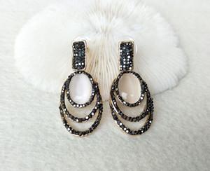 Druzy druse naturale ovale a forma di opale pietra ciondola gli orecchini, fatto a mano pavimenta i monili dell'orecchino di cristallo del Rhinestone di fascino ER460