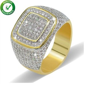 Hip Hop Diamante Anel Mens Hip Hop Desenhador Jóias Icadas Fora Micro Pave CZ Anéis Mulheres Homens Anel de Ouro Anel de Ouro Moda Moda Bling Rock