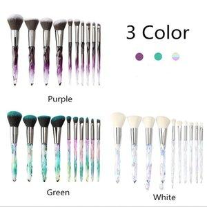10Pcs Crystal Transparent Handle Diamond makeup powder eye shadow Brush Handle Gradient Foundation eyebrow Makeup Tool