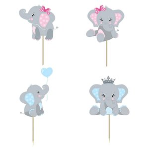 24pcs lot Love Blue Pink Elephant Birthday Baby Shower Kids Favor Party Cupcake Decor Sloth Topper Supplies