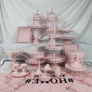18 Stücke Dünne Scheibe Hochzeit Cupcake Set Tablett Dessert Metall Kristall 3 Tier Großhandel Vintage Weiß Geburtstag Rosa Tortenständer