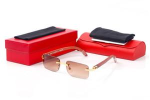 lunetas nuevas gafas de sol de moda para los hombres negros marrones claros lentes sin montura gafas deportivas cuerno de búfalo para gafas de sol de madera las mujeres con la caja de oro