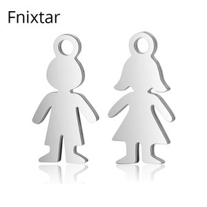 Fnixtar High Quality Stainless Steel Boy Girls Small Charms Metal Charms Pendant Polished Jewelry Bracelet Accessories 20pcs lot