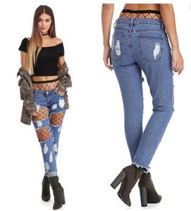 Buraco Mulheres Designer Jeans com Net Stocking Sexy Magro Lavados Casual Skinny Calças retas forma das mulheres Jeans