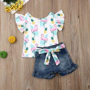 2020 Toddler Kids Baby Girls Sleeveless Cartoon Ruffles Tops T-shirt Denim Pants Shorts Outfits Set Clothes