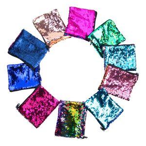 Mermaid Sequined Bag Children's Cartoon Wallet Square Purse Coin Purse Reversible Sequins Glitter Handbag Clutch Storage Bag