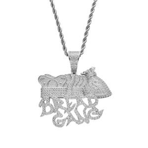 Хлеб Банда Мешок Денег Корона Кулон Ожерелье Мужчины Полная Лаборатория Алмаз Позолоченный Ожерелье Хип-Хоп Медь Драгоценный Камень
