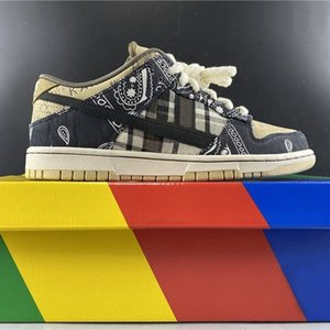 Revelar Cactus Jack SB Mens Running Shoes Bandana Parte sair Dunk Low TS sapatilhas esportivas Formadores de tênis Sports Shoes