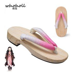 Disfraces WHOHOLL animado Demon Slayer Cosplay Kamado Nezuko Geta Zapatillas japonés de madera para la Mujer kimono flip-flops los zapatos
