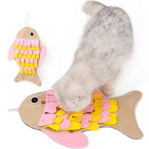 Entrenamiento del gato de pescado en forma de manta Sniff Alimentación Juego de ratón del gato IQ Sniff Pad Bol mascotas de juguete snuffle Mat lavable juguete Foragin
