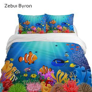 conjuntos de cama das crianças 3D, jogo de cama Queen / King / Twin / Full size, desenhos animados conjunto capa de edredão para o bebê / crianças, peixes subaquáticos mundo