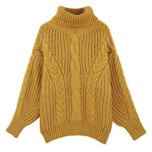 Vêtements décontractés de haute qualité pour femmes, femme, couleur unie, col haut et à manches longues, chandail tricoté, femmes pulls doux s111
