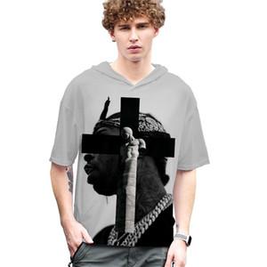 Mens Designer T-shirts en vrac de la mode Hip Hop manches courtes de style capuche pour hommes T-shirts hommes Vêtements décontractés américain Rapper Pop
