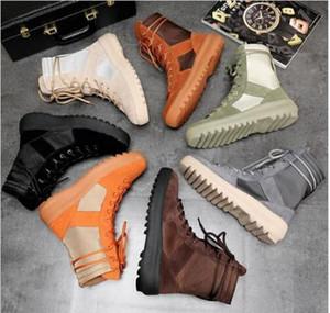 2019 Kanye высоких сапог Божией Top Military кроссовки Hight армейских ботинки мужчины и женщины черный зеленый Мода обувь Мартин сапоги