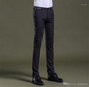 Mens Pants Mid Cintura Com Zipper Fly Pencil Pants Mens Clothing Fashion Designer Plaid