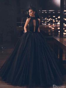 Preto Sem Costas Tulle Comprimento Pavimento Uma linha de vestidos de noite Halter Longo Vestidos Formais vestidos de gala Puffy Prom Dresses 2019