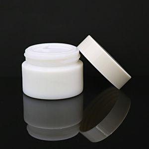 20G 30G 50G الزجاج جرة الأبيض الخزف التجميل الجرار مع PP الداخلية بطانة الجلد غطاء لبلسم الشفاه كريم الوجه