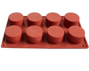 8 furos redondos Silicone Bolo Mold Handmade Cupcake Jelly Cookies Mini Muffin Soap Maker 3D DIY cozimento Ferramentas