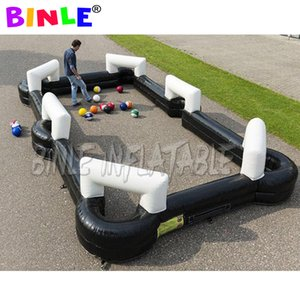 6.6x3.6m black Inflatable Snooker soccer Football pool table Field sports game Giant inflatable snook billboard with balls