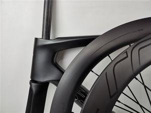 2020 جودة عالية القرص الطريق 700C الفرامل من خلال إطار المحور دراجة الكربون + العجلات 100 * 12 142 * 12MM 2 سنة الضمان الإطارات