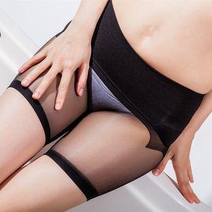zKAqt 8D ultra-thin women's sexy low-waisted random cut plus size anti-hook underwear Silk silk stockings transparent 360 seamless stockings
