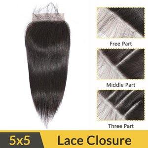 Малайзийские человеческие волосы 5x5 кружевное закрытие прямые девственные волосы оптом 5 на 5 закрытие с детскими волосами шелковистый прямой размер 5x5