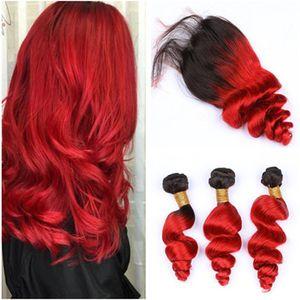 #1B/Красный Ombre Свободная волна 3Bundles перуанские волосы с верхней застежкой 4 шт. Много ярко-красный Ombre 4x4 передняя кружевная застежка с волосами ткет