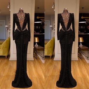 2020 Sexy Aso Ebi Arabisch Schwarz Sparkly Promkleider Crystals Nixe-Abend-Kleider mit langen Ärmeln formales Partei zweiter Empfang Kleider