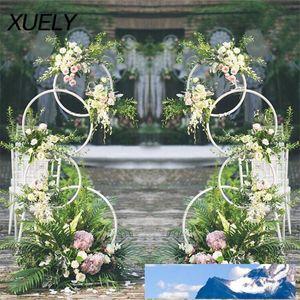 accessoires de mariage Cercle forgé fleur artificielle de fer support étagère murale 4 arc anneau rond toile de fond décoration arc d'anniversaire rond