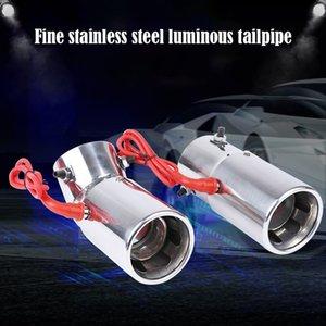 1pcs, type de boucle générale tuyau d'échappement de sortie unique d'émission de lumière en acier inoxydable avec lampe à LED résistant à haute température