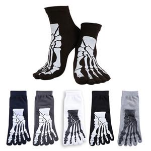 Punk Rock Unisex 3D baskı terör İskelet ayak çorap Hip Hop korkunç kafatası beş parmak garip kemik kısa çorap