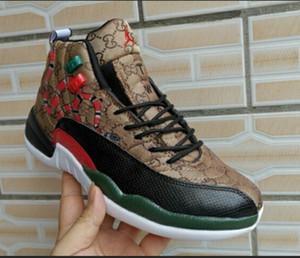Персонализация 12s GS поколение змея Черный Коричневый Красный мужские баскетбольные кроссовки 12 мужчин змеиной кожи ретро спортивные дизайнерские кроссовки с коробкой