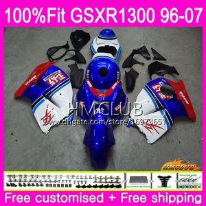 Injecção Para SUZUKI Hayabusa GSXR1300 GSXR 1300 96 97 98 99 00 01 07 Azul Branco Topo 22HM.16 GSX R1300 1996 1997 1998 1999 2000 2001 Carenagem