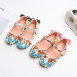 New Girls Glitter Princess Shoes Children Soft bottom Toddler Breathable Flats Student Bow Party Dance Kids Leather Shoes 041